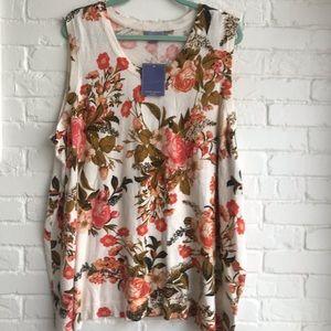 Laura Scott tank tunic flowery blouse 2x plus size